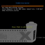 Als Bootmanager kommt Syslinux zum Einsatz.